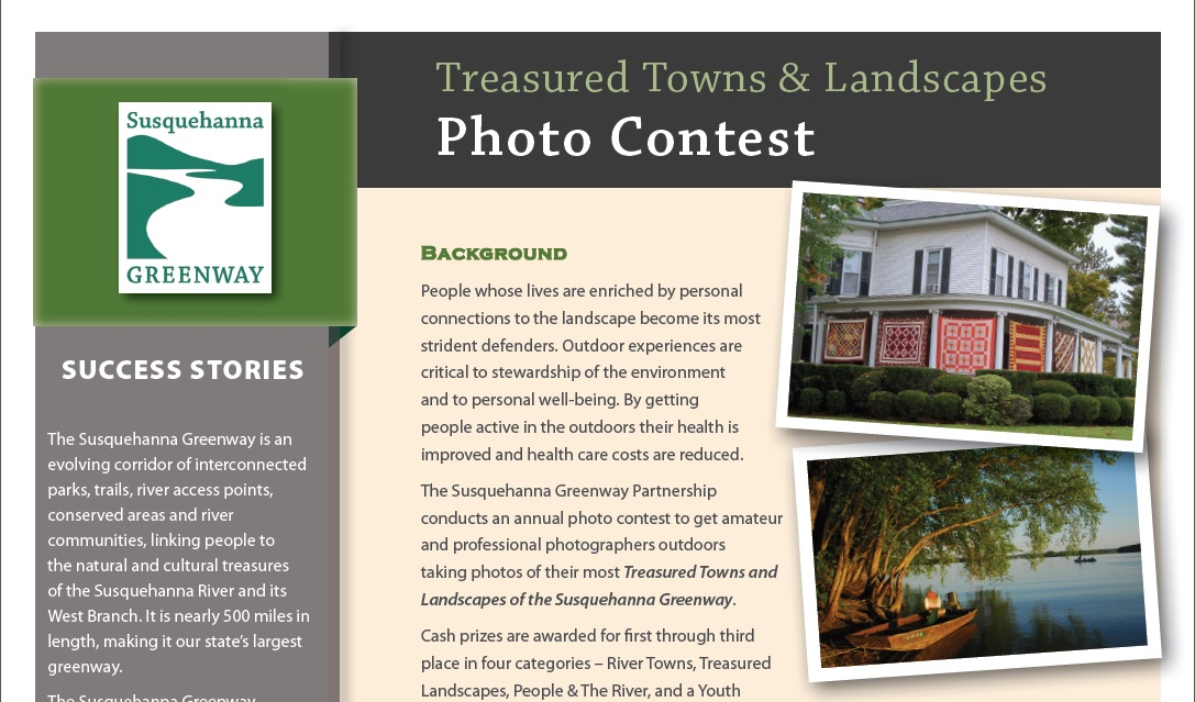The annual Photo Contest celebrates the shared memories and experiences that take place along the Susquehanna River. Each year the contests receives hundreds of photo submissions, and their is an opportunity to vote for the People's Choice images on Facebook